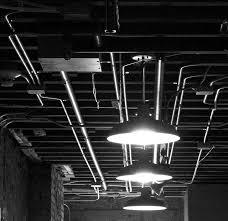exposed ceiling lighting basement industrial black. exposed conduit industrial ceiling lighting basement black