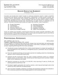 Executive Resume Format 3 Sample Senior Summary Template Example For