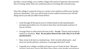 writing collage directions questionnaire and student sample  writing collage directions questionnaire and student sample google docs