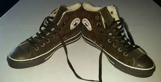 converse all star chuck taylor high top brown leather fleece wool size 7 brown