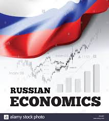 Russian Economics Vector Illustration With Russia Flag And