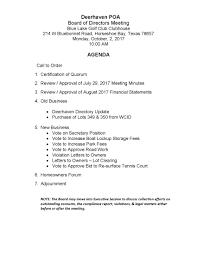 Work Meeting Agenda Deerhaven Poa Board Of Directors Meeting Agenda Deerhaven Poa