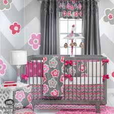 baby bedroom attractive unique nursery room flower crib stuff set light gray pink flowers zigzag baby