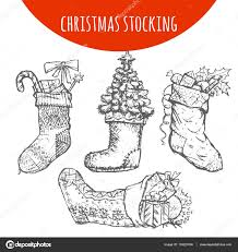 Christmas stocking sock decoration with gifts sketch. Hand drawn pencil  drawing elements of Christmas pine, fir tree branches cones, candy, holly  wreath bow ...