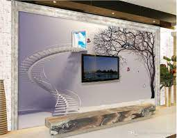 3D Background Wall Stairs Abstract Tree ...