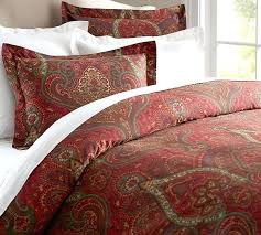 pottery barn mira paisley king duvet cover red green tan burdy sateen cotton potterybarn burdy duvet