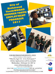 richmond youth encouraged to apply for summer jobs richmond standard advantages to employing youth include the completion of short term projects the curbing of temporary staffing costs and the training of a future workforce
