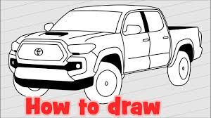 How to draw a car Toyota Tacoma 2018 Pickup Truck - YouTube