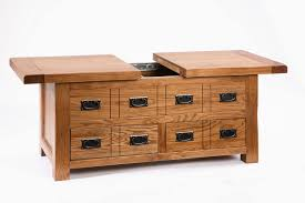 Sliding Top Coffee Table With Storage And 8 Drawers Using Metal ...