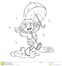Small Picture Coloring Page Outline Of A Girl Jumping In The Rain Stock Vector