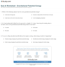 print gravitational potential energy definition formula examples worksheet