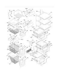 Shelves diagram parts list for model ei23cs55gs1