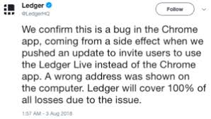 A Company S Ledger Is Ledger To Repay Eth Chrome App Bug Victims Coinwire