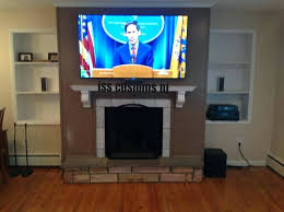 installation fireplace new jersey install tv over hide wires above gas mount ventless