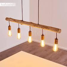 Pendelleuchte Gondo Aus Holzmetall Rostfarben 5 Flammige Hängelampe Für Wohnzimmer Esszimmer Schlafzimmer