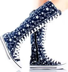 converse boots. converse lace up knee high boots - star womens canvas sneakers n