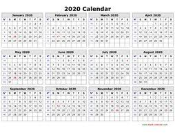Printable Calendars 2020 With Holidays Printable Calendar 2020 Free Download Yearly Calendar