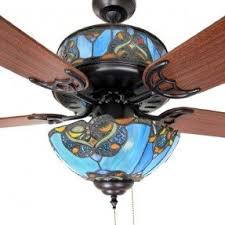 fan glass. stained glass ceiling fan and light shades of blue 48