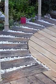 wooden walkways backyard multiple wood essences combined with white river rocks wood walkway backyard