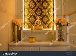 lighting in house. Buddha Statue With Warm Lighting In Thai House For Praying B