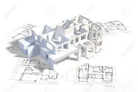 architecture blueprints. Delighful Architecture House Mockup On Top Of Architecture Blueprints Construction Drawings  Stock Photo  13100636 Inside Architecture Blueprints B