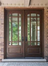 double wood entry doors with glass