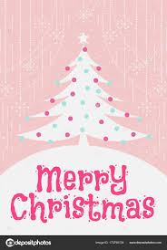 Pink Christmas Card Christmas Greeting Card With Christmas Tree Cute Flat Color Style On