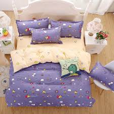 2016 New Bedding Sets Purple Style Cute Little Bee Reactive ... & 2016 New Bedding Sets Purple Style Cute Little Bee Reactive Printing KID  Bed Sheets Quilt Cover Adamdwight.com