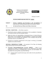 Bir Revenue Memorandum Order 10 2014 Tax Return United States