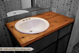 likeable bathroom makeover day 2 my 35 diy wood countertop on diy countertops