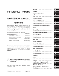 Mitsubishi Color Code Chart 2001 Mitsubishi Pajero Pinin Service Repair Manual