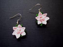 magnolia dangle leather earrings