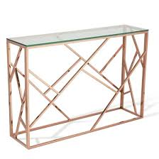 betty glass console table rosegold