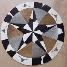 round patchwork cowhide rug