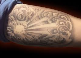 Sun Tattoo Japanese Wave Cloud Black And Grey Bicep Tattoo