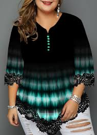 Modlily Size Chart Plus Size Gradient Printed Lace Panel T Shirt Modlily Com Usd 33 37