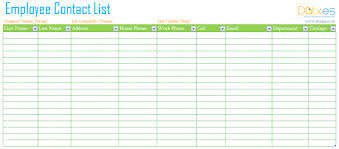 employee contact list template employee contact list template dotxes