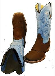 texas sq toe brown nu buc with blue