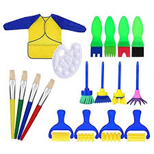 <b>Kids</b> Paint Brushes, <b>18 pcs</b> Sponge Painting Brush Tool <b>Set</b> for ...