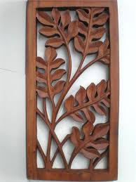 cozy bali leaf wood carved wall art hanging relief carving balinese 40cm wood carved