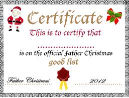 Printable Christmas Certificates template Festive Template Good List Certificate From Father Free 27