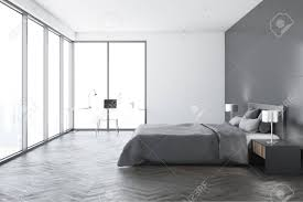 Concrete Floor Bedroom Design Modern Bedroom Interior With White Walls A Concrete Floor A