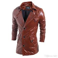 new high quality mens black brown leather trench coat single ted punk leather jacket for men turn down collar jacket harley by hale7