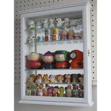 details about wall curio display case shadow box cabinet glass door mirrored solid wood white
