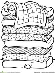 princess and the pea coloring page. first grade coloring worksheets: color the princess and pea page education.com\u0027s