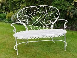 white wrought iron garden furniture. Delightful Shabby Chic Vintage Style White Metal Wrought Iron Garden Bench Seat Furniture U