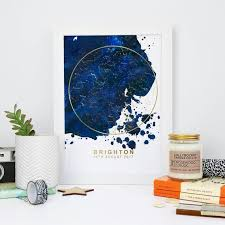 Foiled Star Chart Print Blue Blot And Gold Personalised Map Of The Stars Print Home Decor Print Anniversary Print Wedding Gift