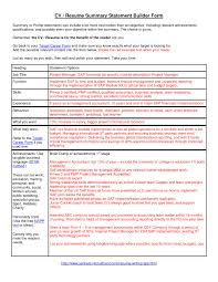Summary Examples For Resume Sample Resume Personal Summary Statement New Summary Statement For 41