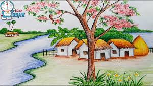 how to draw scenery of spring season step by step farjana drawing academy