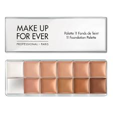 makeup forever pro foundation palette a palette featuring 11 shades of pan stick foundation for evening out the plexion and camouflaging small